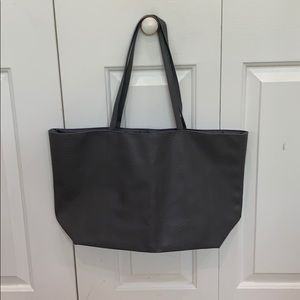 Gray vinyl tote bag